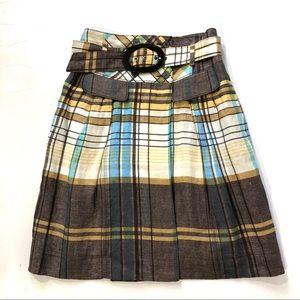 Zara Woman Plaid Belted Faux Wrap Linen Skirt